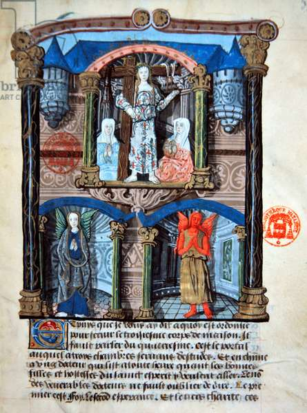 Ms 978 fol.39 'The gate house of the castle', illustration from a spiritual treatise for use of lay people by Gabrielle de Bourbon (vellum)