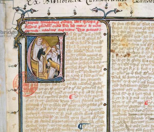 Ms 3519 fo.1 Carmelite professor teaching his pupils (vellum)