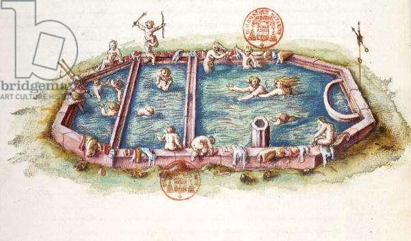 Ms 3243 The Baths of Nerys at Neris-les-Bains, illustration from 'Generale Description du Bourbonnais' by Nicolas de Nicolay, 1569 (w/c on paper)