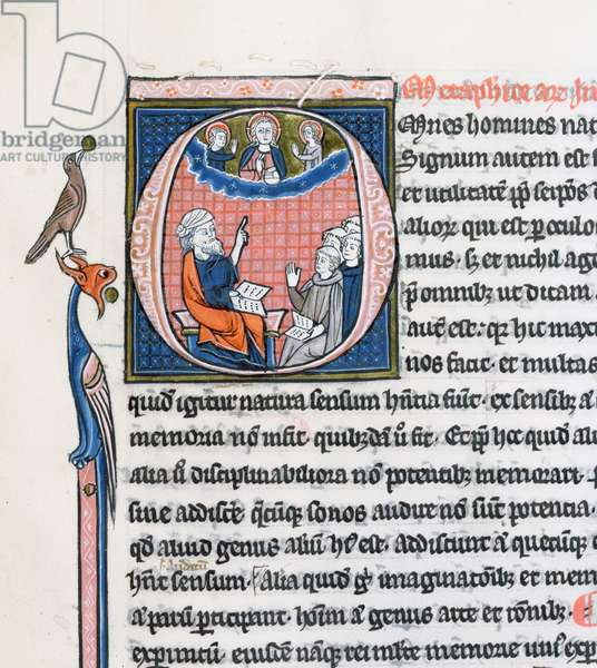 Ms 3458, historiated initial 'O' depicting the ancient Greek philosopher Aristotle, teaching a group of clerics from Western Europe and pointing upwards towards God in the heavens (pen & ink and tempera on vellum) (detail of 430472)