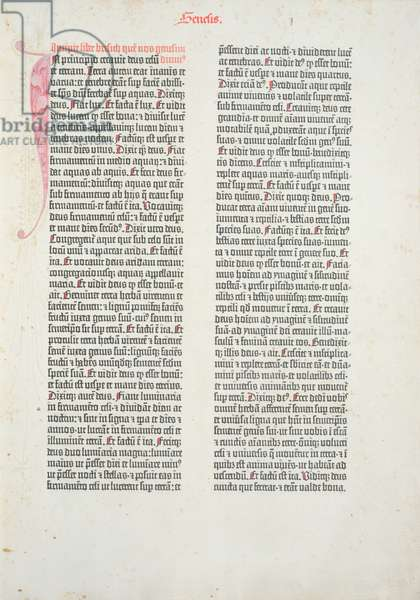 Opening page of the book of Genesis from the Gutenberg Bible, printed by Johannes Gutenberg (c.1400-68) and Peter Schoeffer (1425-1502) in Mainz, 1454-56 (printed paper)