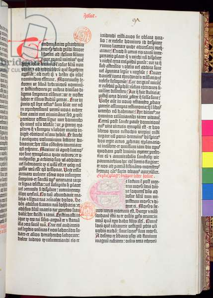 End of Pentateuch and beginning of Book of Joshua, from the Gutenberg Bible, printed by Johannes Gutenberg (c.1400-68) & and Peter Schoeffer (1425-1502) in Mainz, 1454-56 (printed paper)