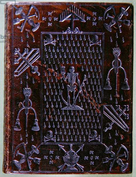 Psalter of David, bound for a member of the Compagnie des Confreres de la Mort, 1586 (brown morocco leather tooled in silver)