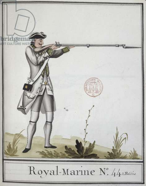 Officer of the Marine Royale with a bayonetted musket, 1768 (colour litho)