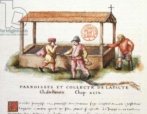 Ms 3243 The Fountain of Saint-Pardoux, Puy-de-Dome, illustration from 'Generale Description du Bourbonnais' by Nicolas de Nicolay, 1569 (w/c on paper)