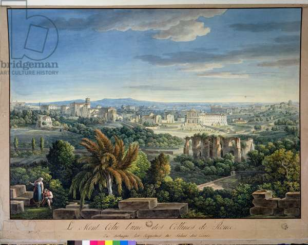 View of the Celian Hill, Rome, c.1800 (coloured engraving)