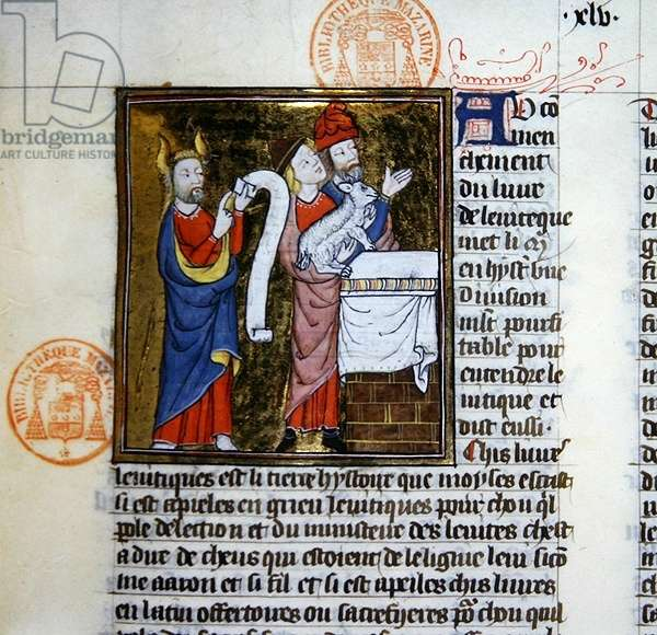 Ms 312 Moses offers the Passover Lamb, miniature from the Bible Historiale of Guyart des Moulins (vellum)