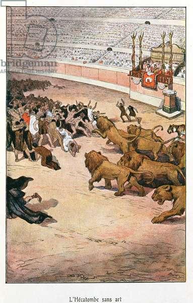 Roman Games, illustration for 'L'Orgie Romaine' by Felicien Champsaur, Edition Fasquelle, Paris 1903 (colour litho)