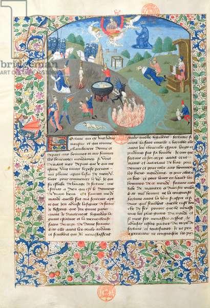 Ms 3878 Scenes of battle, killing and hell from 'De Casibus Virorum Illustrium' by Giovanni Boccacci (1313-75) (vellum)