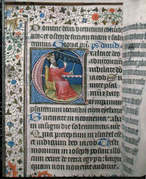 Ms 376 King David playing a carillon, illustration from a psalter, early 15th century (vellum)