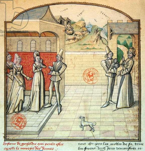 Ms 1560 Griseldis and her husband the Marquis de Saluces, illustration from 'Fleur des Histoires', after Giovanni Boccaccio (vellum)
