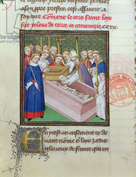 Exhumation and Canonisation of St. Louis (1215-70) in 1297, from 'Les Grandes Chroniques de France' (vellum)