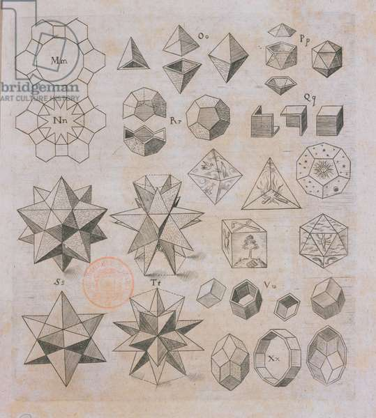 Geometric shapes, from 'Harmonices Mundi' by Johannes Kepler (1571-1630) published in Linz, 1619 (engraving)