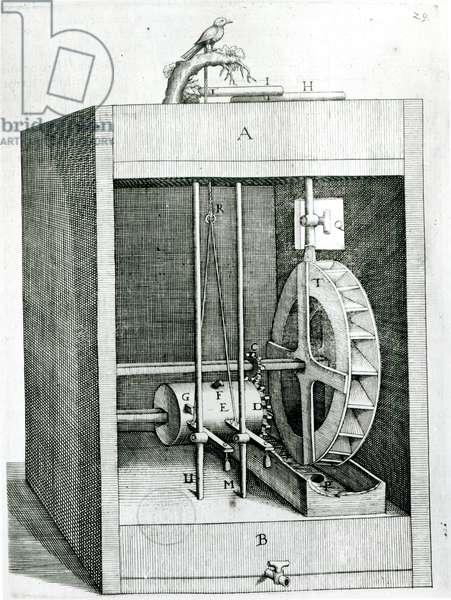 Clockwork bird, from 'Les Raisons des Forces Mouvantes' by Salomon de Caus (c.1576-1626), 1615 (engraving)