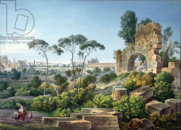 View of the Esquiline Hill, Rome, c.1800 (coloured engraving)