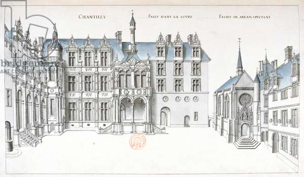 View of the courtyard and chapel at Chantilly (pen, ink & w/c on paper)