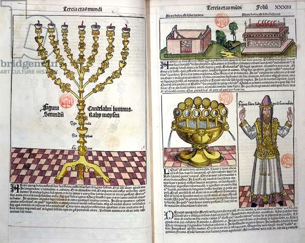 The Menorah and a Hebrew Priest, from the Nuremberg Chronicle by Hartmann Schedel (1440-1514) 1493 (colour woodcut)