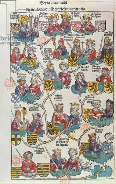 The Genealogy of Heinrich der Vogler (876-936) from 'Liber Chronicarum' by Hartmann Schedel (1440-1514) 1493 (colour woodcut)
