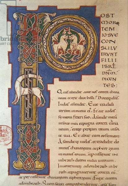 Historiated initial 'P' depicting an interlacing pattern and fantastical animals, from a latin Bible of Limoges origin, c. 1125 (vellum)