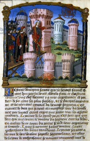 Ms 978 fol.33 'The Castle', illustration from a spiritual treatise for use of lay people by Gabrielle de Bourbon (vellum)