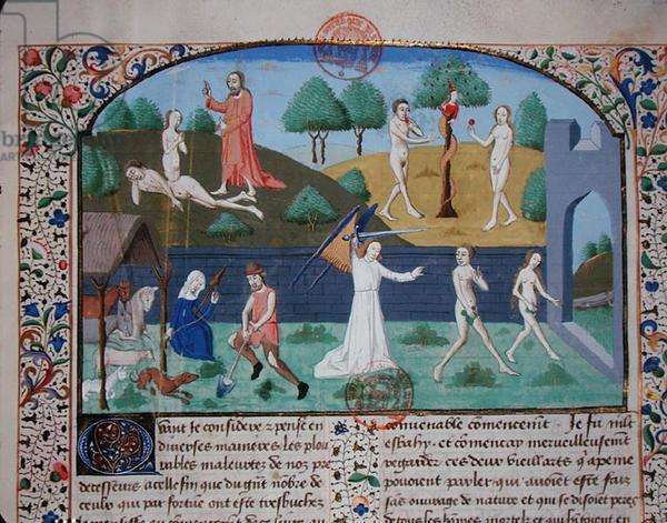 Ms 3878 The Creation of Eve, The Temptation and The Expulsion of Adam and Eve, from 'Des cas des nobles hommes et femmes', by Giovanni Boccaccio (1313-75) (vellum)