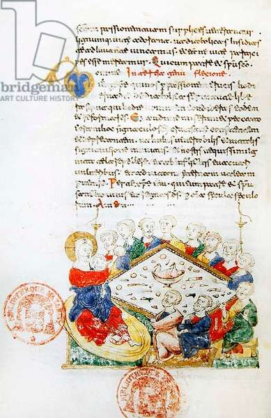 Ms 364 The Last Supper, from the Breviary of Monte Cassino (vellum)