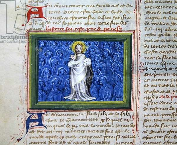 Ms 313 God surrounded by angels, from the Bible des Grands Augustins, 1494 (vellum)