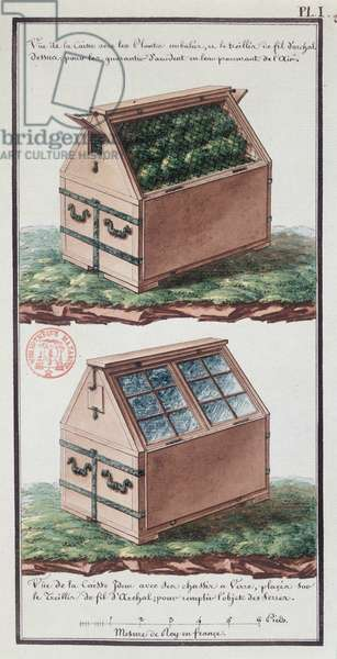 Illustration of a chest of drawers for transporting plants, from the artist's notebook made during the expedition of Jean-Francois Gallup de la Perouse (1741-88) (pen & ink and w/c on paper)
