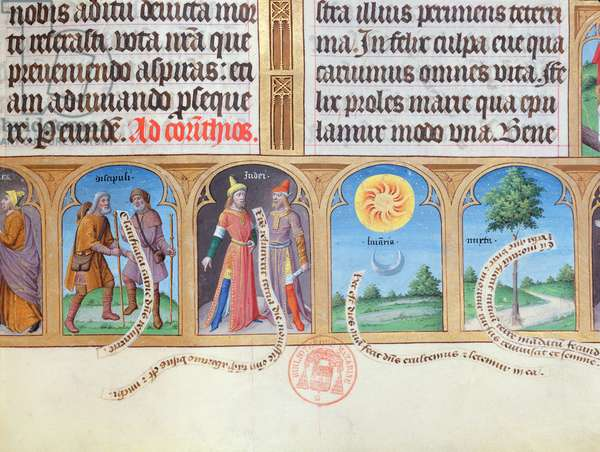 Ms 412 Book of Hours with illustrations of pilgrims, Jews. sun, moon and myrtle (vellum)