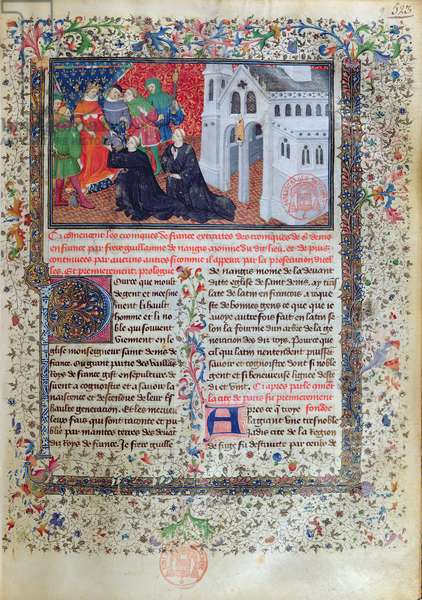 Guillaume de Nangis (d.1300/03) presents his book to Philippe IV (1268-1314) le Bel, King of France from 1285-1314 (vellum)
