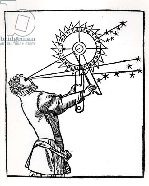 An astrolabe, illustration from 'Cosmographia' by Petrus Apianus (1495-1552), published in Paris by Vivant Gualtherot, 1551 (woodcut) (b/w photo) Vivant