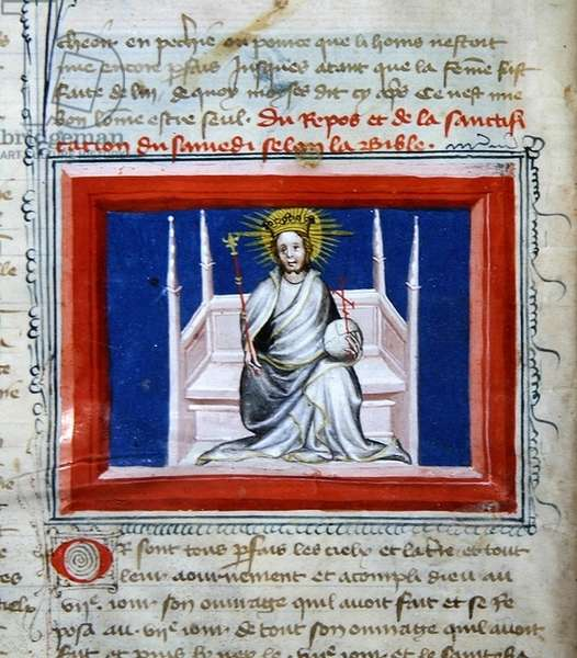 Ms 314 God in Majesty, from the Bible des Grands Augustins, 1494 (vellum)