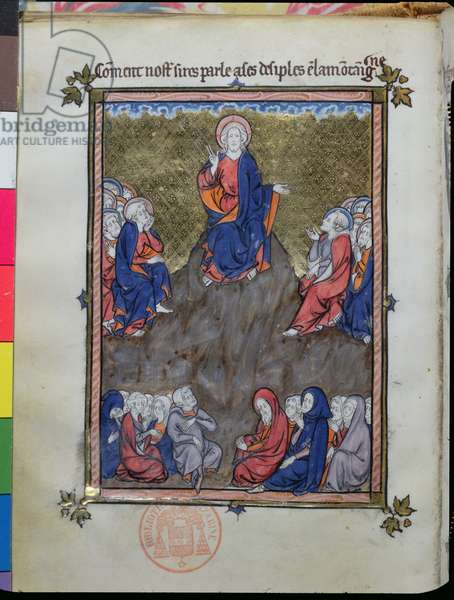 Ms 870 The Sermon on the Mount, from 'La Somme le Roy' by Frere Laurent, illuminated by Maitre Honore (vellum)