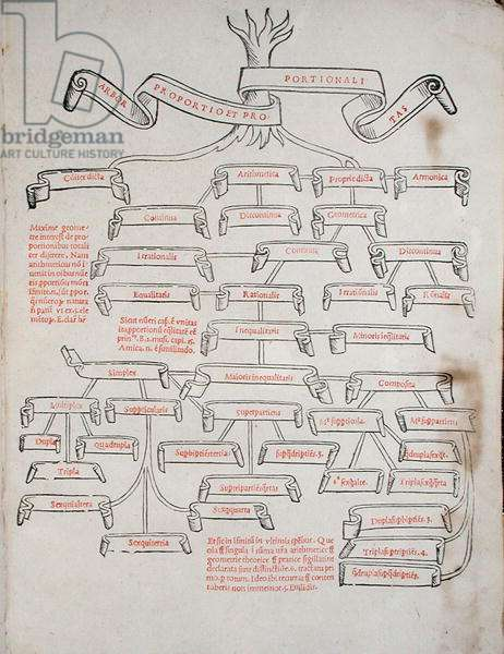 The Tree of Proportions, from 'De Divina Proportione' by Luca Pacioli (c.1445-c.1514) published in Venice, 1509 (print)