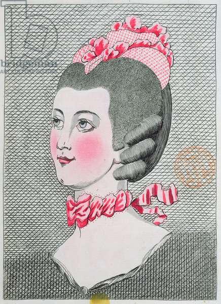 Fashion plate from 'L'Art de la Coiffure de Dames', by Sieur Legros, published in Paris 1767 (colour litho)