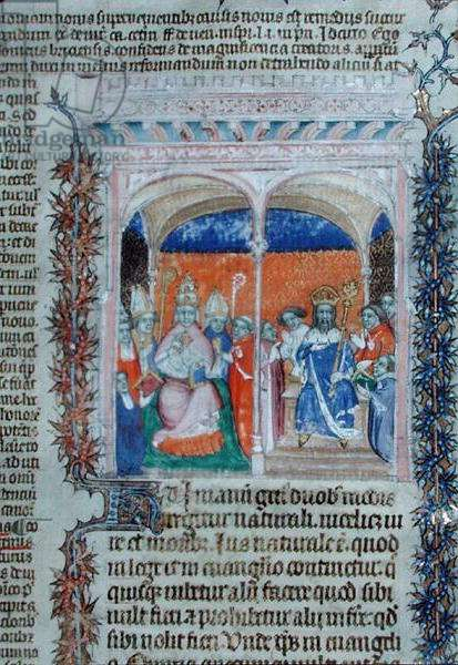 Ms 1290 The Pope and the King, from 'Decrets de Gratien' (vellum)