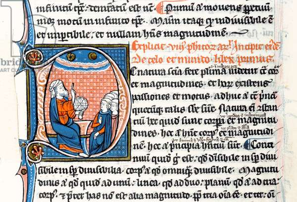 Ms 3458 fol 62vo Historiated initial 'D' depicting Aristotle holding an armillary sphere and pointing to the heavens as he teaches a group of clerics from Western Europe (pen and ink and tempera on vellum)