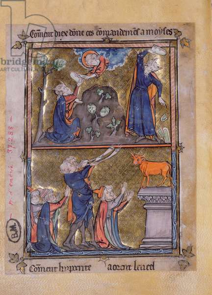 Ms 870 Moses on Mount Sinai and Moses and the Golden Calf, from 'La Somme le Roy' by Frere Laurent, illuminated by Maitre Honore (vellum)