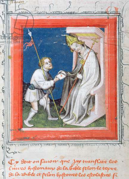 MS 313 Messenger giving a letter from the king of France to a bishop, miniature from 'Bible de Guiart des Moulins' (vellum)
