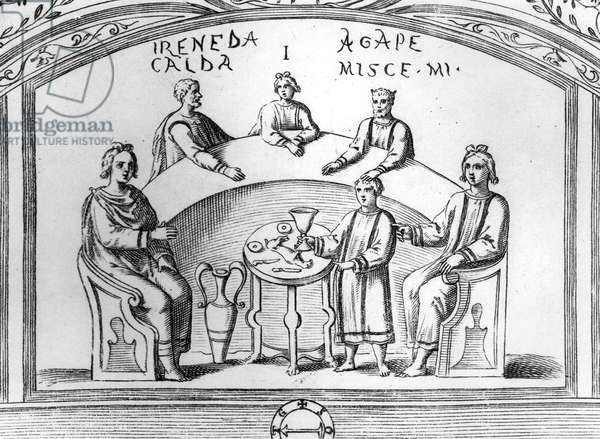 Banquet scene from an early Christian catacomb fresco in Rome, illustration from 'Roma Sotterranea' by Antonio Bossi, published in Rome in 1632 (wood engraving)