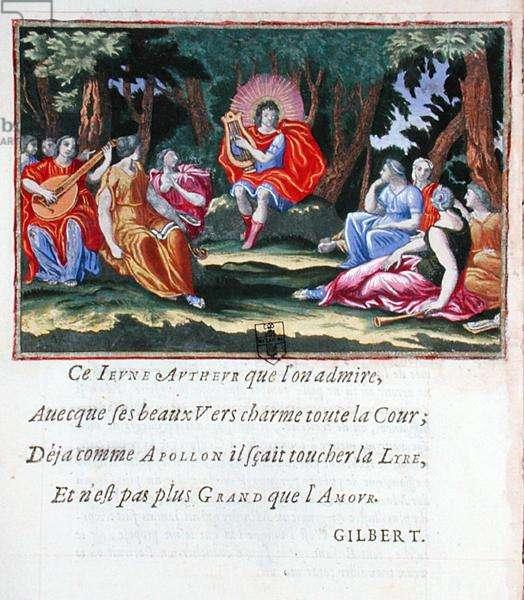 Louis XIV as Apollo with the Nine Muses, from 'La Lyre du jeune Apollon ou La Muse naissante', collection of poems by Francois de Beauchateau (b.1645), 1657 (colour engraving)