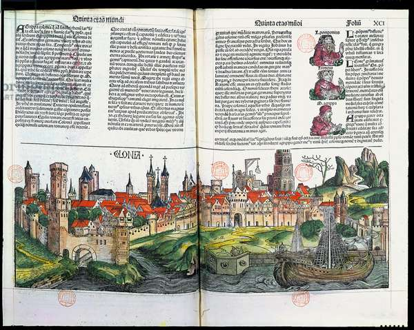 View of the town of Cologne, from the Chronicle of Nuremberg by Hartmann Schedel, 1493 (colour wood engraving)