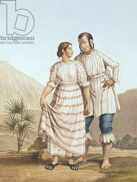Mexican Indian Costume, from 'Voyage aux Regions Equinoxiales du Nouveau Continent' by Alexander von Humboldt (1769-1859), engraved by Michel Bouquet (1807-90) published 1810 (colour litho)