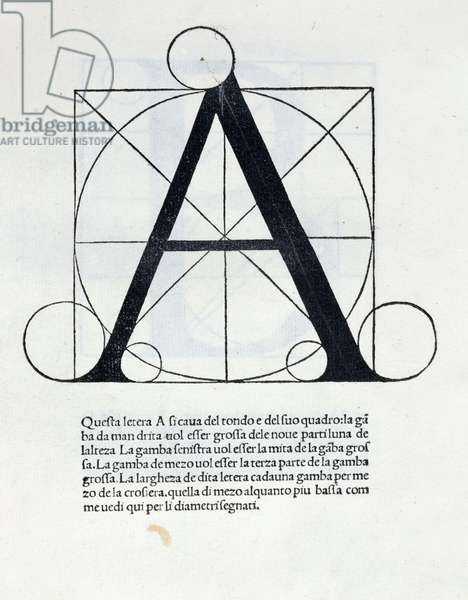 Res 4720 The letter 'A', illustration for 'De Divina Proportione' by Luca Pacioli (1445-1517), 1509 (lithograph)