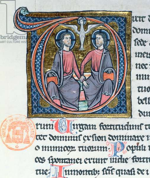 The Trinity, illuminated initial from a latin Bible (vellum)