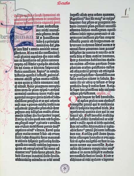 Prologue of the Gutenberg Bible, printed by Johannes Gutenberg (c.1400-68) & Peter Schoeffer (1425-1502) in Mainz, 1454-56 (printed paper)