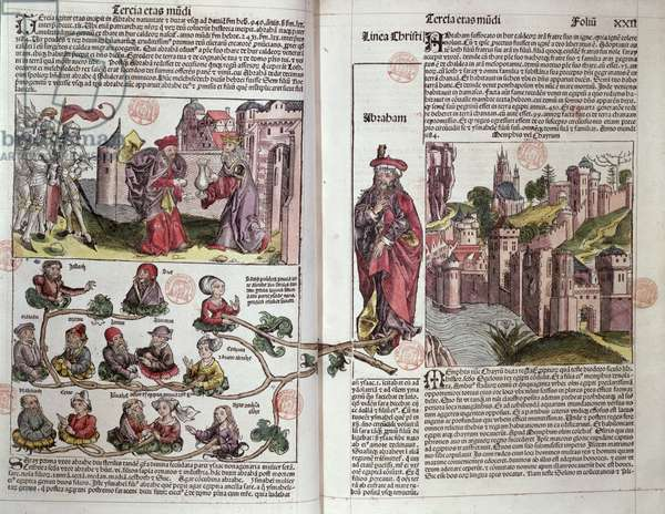 Abraham and his Descendants, from the Nuremberg Chronicle by Hartmann Schedel (1440-1514) 1493 (coloured woodcut)