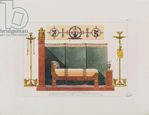 View and details of a bedroom in Paris, bed made by Alexandre de Regnier, from 'Recueil de décorations intérieures comprenant tout ce qui a rapport à l'ameublement', published Paris, 1801 (coloured engraving)