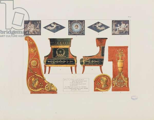 Details of a bedroom in Paris, from 'Recueil de décorations intérieures comprenant tout ce qui a rapport à l'ameublement', published Paris, 1801 (coloured engraving)