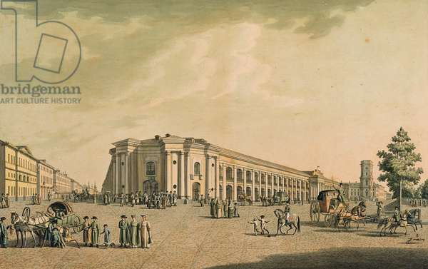 View of the Russian shops on the Nevsky Prospekt, with the house of the Duma, St. Petersburg, 1802 (engraving with w/c)